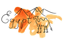 Egypt Camel Pyramids Sketch Wi...