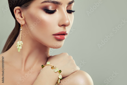 Closeup Portrait of Young Woman with Jewelry Fototapeta