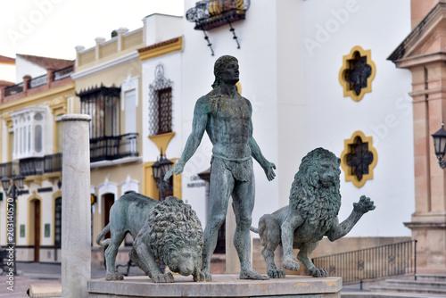 Poster Artistique Hercules and two lions statue in Plaza del Socorro, Ronda, Andalucia, Andalusia, Spain