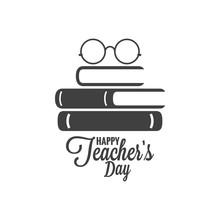 Happy Teachers Day Icon. Glass...