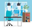 office workplace scene icon vector illustration design