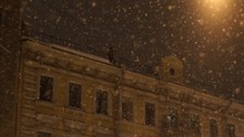 Strong Snowfall At Night In Th...