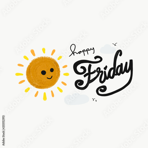 Happy Friday Word And Cute Smile Sun Painting Illustration Buy