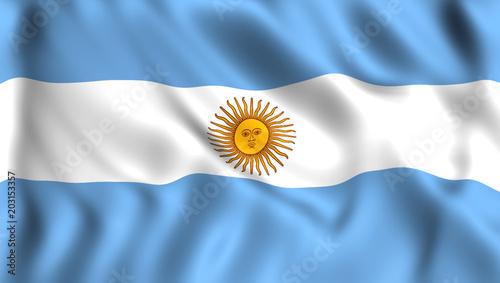 Cuadros en Lienzo Flag of Argentina silk waving in the wind