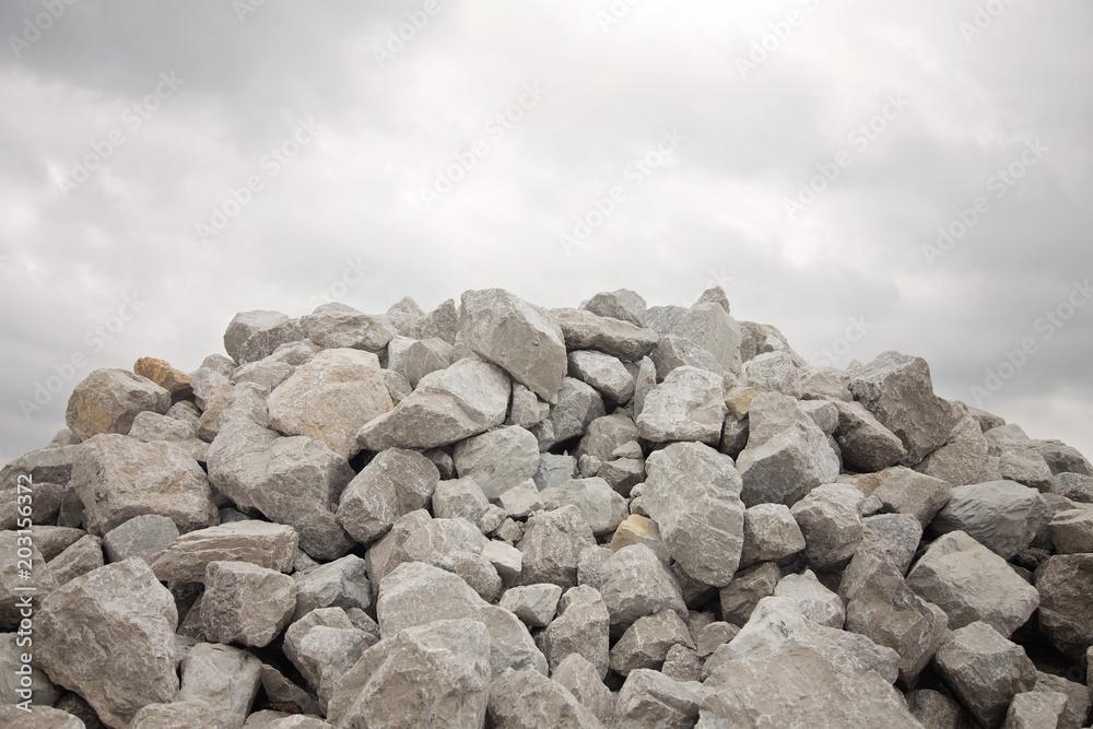 Fototapeta Large Pile of Grey Bolder Rocks