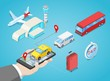 Airport transfer, vector isometric 3D illustration. Call taxi or buy shuttle bus ticket online. Internet travel service