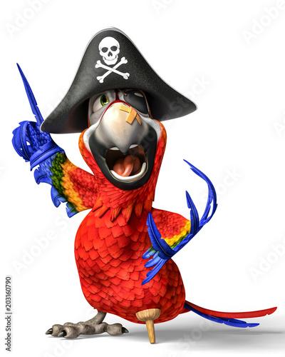 Fototapeta premium kreskówka papuga pirat