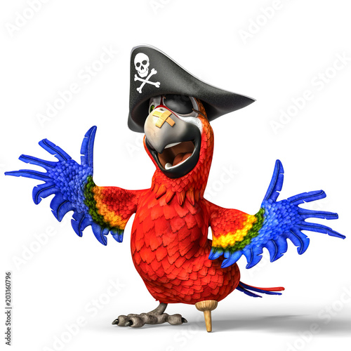 pirate parrot cartoon Wallpaper Mural