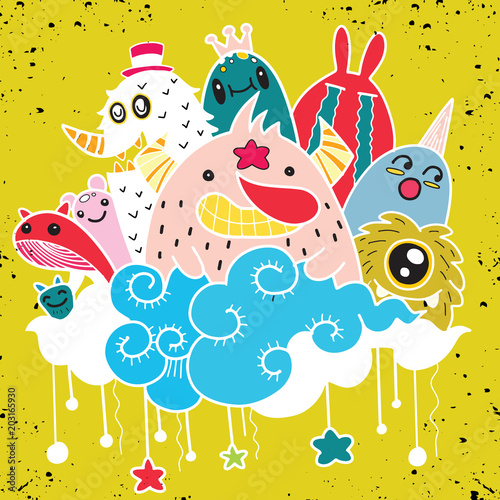 Foto op Aluminium Schepselen Vector illustration of Doodle cute Monster background ,Hand draw