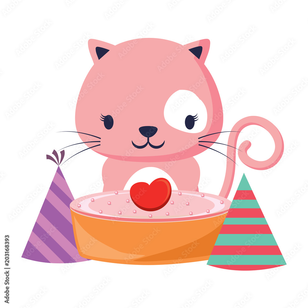 Happy Birthday Design With Cute Cat Cake And Hats Over White Background Colorful Foto Poster Wandbilder Bei EuroPosters