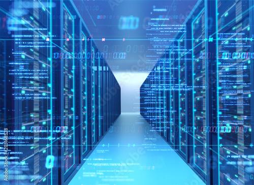 Pinturas sobre lienzo  Corridor of  server room with server racks in datacenter