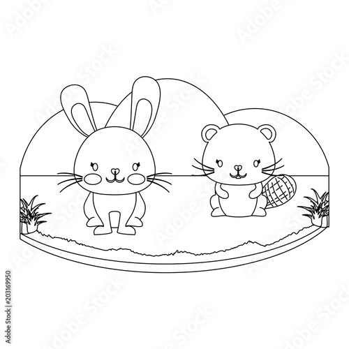Foto op Plexiglas Hemel landscape with cute rabbit and beaver over white background, vector illustration