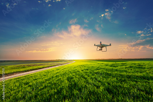 Photo  drone quad copter on green corn field