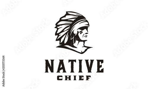 Papel de parede American Native Indian Chief Headdress Logo illustration