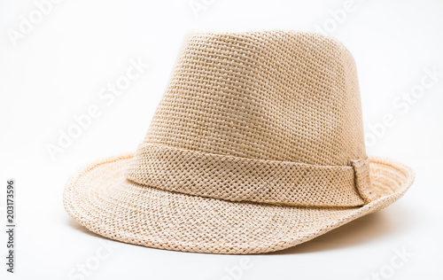 Brown straw hat on white background - Buy this stock photo and ... 0ec67a29c107