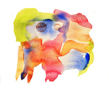 Colorful Pattern On White Background , Illustration Abstract Watercolor Hand Draw And Painted On Paper