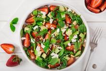 Strawberry, Avocado, Spinach, Arugula And Feta Cheese Salad