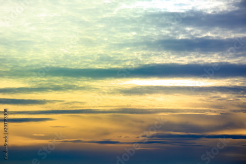 Fototapety, obrazy: Cumulus sunset clouds with colorful sun setting down