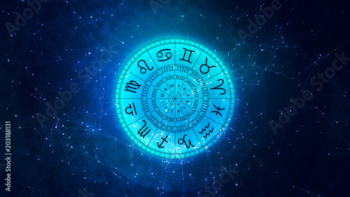 Obraz na plátně Zodiac astrology signs for horoscope