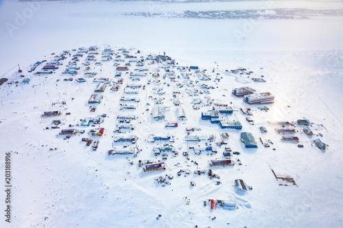 Fototapeta National Nenets reindeer herding village Nosok in the north Krasnoyarsk region, aerial view obraz