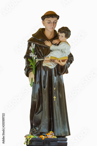Saint Anthony of Padua holding baby Jesus statue in ST Canvas Print