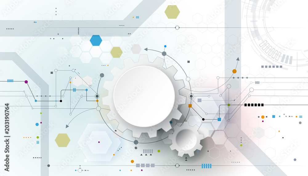 Vector illustration gear, wheel and circuit board, Hi-tech digital technology and engineering, Modern digital telecoms technology concept. Abstract futuristic on light blue color background