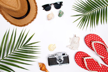 Traveler Accessories, Tropical Palm Leaf Branches On White Background With Empty Space For Text. Travel Vacation Concept. Summer Background.  Flat Lay, Top View.