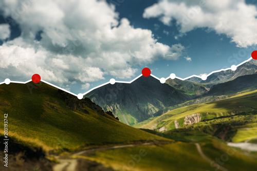 Fotografía  Candle Stick Graph Diagram On Mountain Landscape Background, Success Financial C
