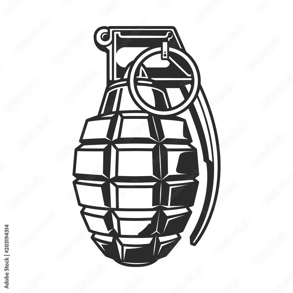 Hand grenade in black white colour