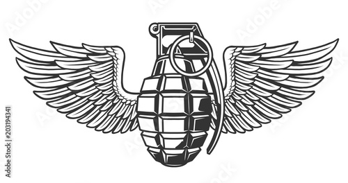 Hand grenade in black white colors with wing