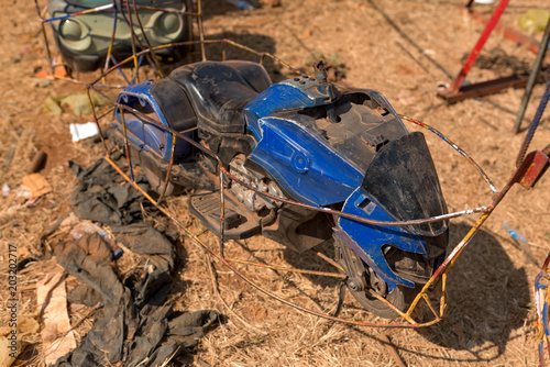 Papiers peints Attraction parc Heavy damaged toy car of roller coaster in Amusement park in Banlung town. Cambodia.