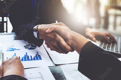 Business partnership consult and meeting concept Canvas Print