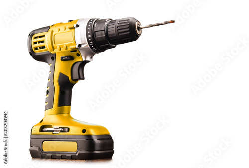 Photo Cordless drill with drill bit working also as screw gun