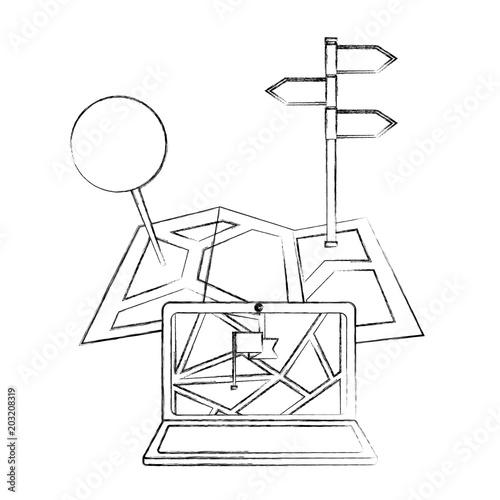 Laptop Map Gps Navigation Pin Markers Vector Illustration