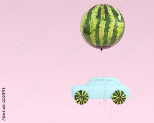 Watermelon layout wheel and car blue with watermelon balloon floating on pastel pink background. minimal idea food and fruit summer concept.
