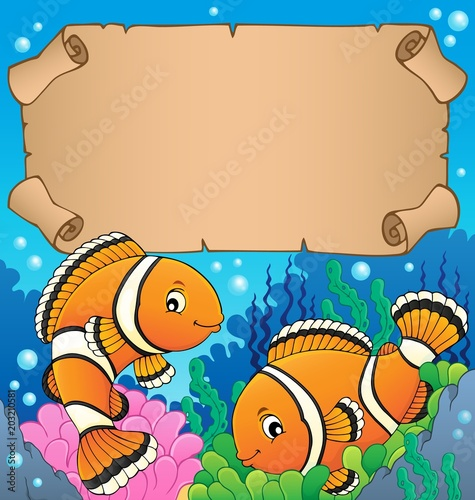 Tuinposter Voor kinderen Small parchment with clownfish theme