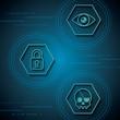 cyber security technology blue binary circuit background rhombus skull piracy crime padlock surveillance vector illustration