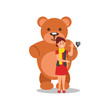 Cheerful young girl making selfie with big brown teddy bear. Woman using smartphone and monopod. Flat vector design