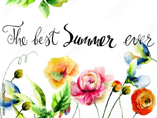Fototapeta Wild flowers with title the best summer ever obraz na płótnie