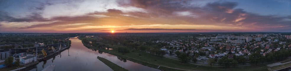 Fototapeta Aerial view on sunset in Wroclaw