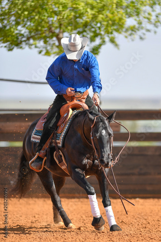 The front view of a rider in jeans, cowboy chaps and checkered shirt on a reining horse galloping in the red clay an arena.