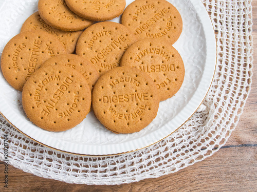 Digestive biscuits in a plate Canvas Print