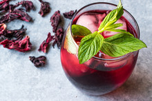 Cold Brew Hibiscus Tea With Ice And Mint Leaves.