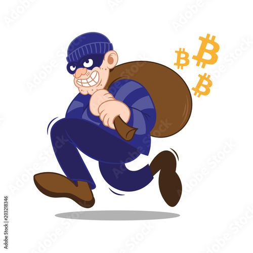Fotografie, Obraz  Bitcoin ciber thief