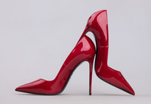 Women's Red Shoes With A Varni...