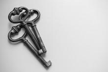 Three Old Vintage Key On White Background. Antique Rusty Keys On White Background