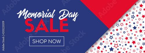 Fotografía  Memorial day sale vector banner template