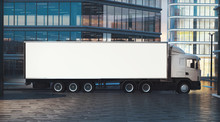 Truck Mockup On City Street At...