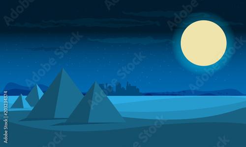 Cadres-photo bureau Bleu vert Desert View Egypt Pyramids night Flat Vector Illustration