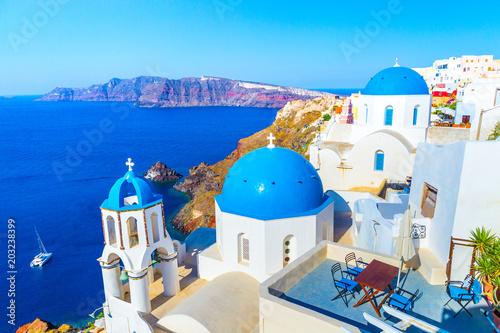 Foto auf Leinwand Santorini View of Oia the most beautiful village of Santorini island in Greece.